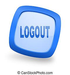 logout square glossy blue web design icon