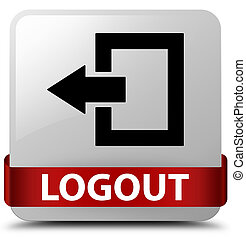 Logout white square button red ribbon in middle