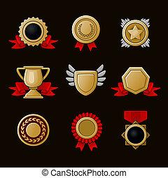 logro, iconos, conjunto