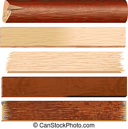 Wooden Planks, Boards, Logs, Panels, vector timber collection
