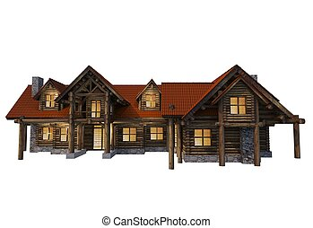 Logs House Isolated