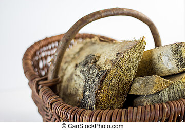 logs in a basket on a white background