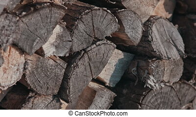 Logs of firewood neatly stacked in the woodpile in winter macro
