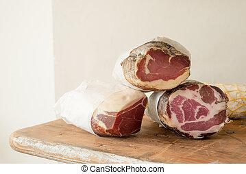 Logs of Preserved Meat - Logs of preserved meat or deli meat...