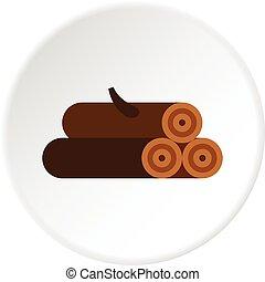 Logs of trees icon circle