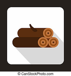 Logs of trees icon, flat style