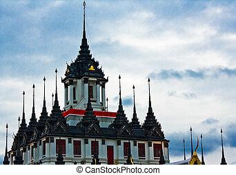 loha, prasat, métal, palais, dans, bangkok, thaïlande,...