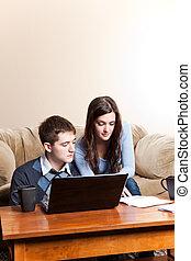lohnend, bankwesen, paar, rechnungen, online