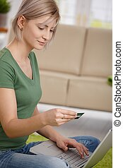 lohnend, kredit, frau, karte, online