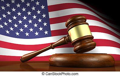 loi américaine, et, américain, justice, concept