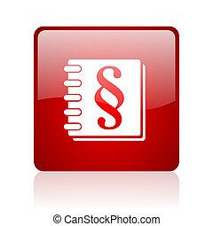 loi web, lustré, carrée, fond, icône, blanc rouge