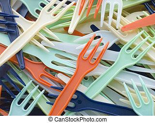 loin, coloré, tas, prendre, fourchettes, plastique
