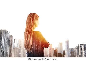 loin, femme affaires, avenir, regarde