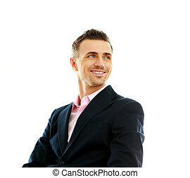 loin, isolé, regarder, fond, portrait, homme affaires, sourire, blanc