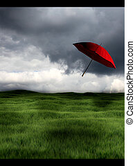 loin, parapluie, vent, rouges, soufflé
