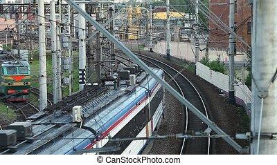 loin, train, passager, aller