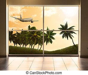 loin, voler, avion
