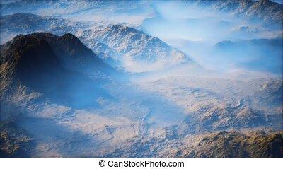 lointain, brouillard, mince, montagne, couche, vallées, gamme