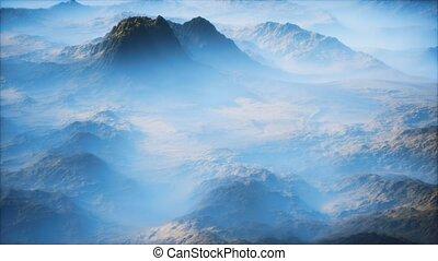 lointain, brouillard, vallées, mince, gamme, couche, montagne