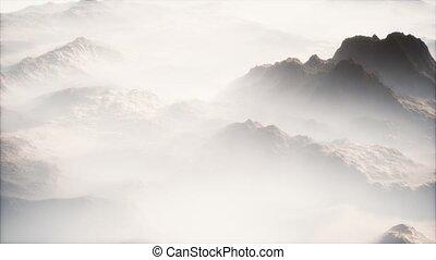 lointain, mince, brouillard, vallées, gamme, couche, montagne