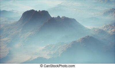 lointain, vallées, brouillard, montagne, mince, gamme, couche