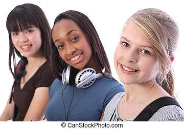 loiro, adolescente, estudante, menina, e, étnico, amigos