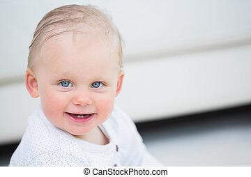 loiro, bebê, olhos azuis