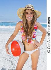 loiro, branca, sorrindo, palha, biquíni, chapéu, praia,...