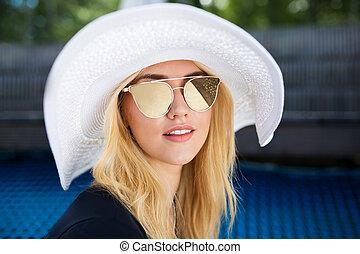loiro, chapéu, branca, menina