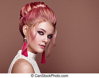 loiro, menina, com, elegante, e, brilhante, penteado
