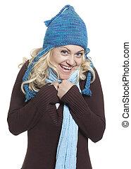 loiro, menina, em, chapéu, congelação