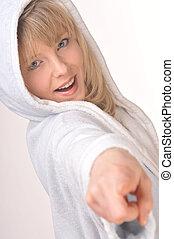 loiro, mulher, bathrobe, hooded, branca