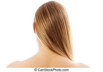 loiro, mulher, com, saudável, cabelo, -, isolado, branco, experiência.