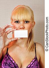 loiro, mulher, mostrando, em branco