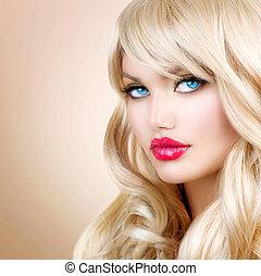loiro, mulher, portrait., bonito, loura, menina, com, longo, cabelo ondulado