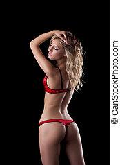 loiro, mulher, roupa interior, vermelho