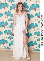 loiro, mulher, vestido, branca