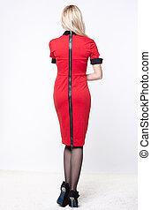 loiro, mulher, vestido, vermelho
