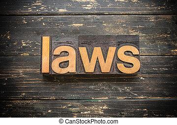 lois, concept, type, letterpress, bois, mot, vendange