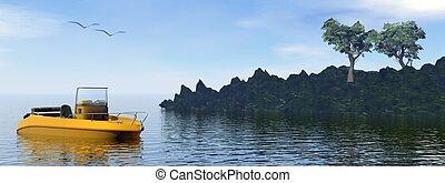loisir, -, bateau, render, 3d