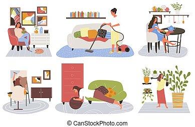 loisir, femme, activités, ensemble