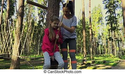 loisir, nature, activités, mère, fille