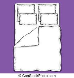 loisko prádlo, šablona, s, poduška, duvet, deska, a, tabule