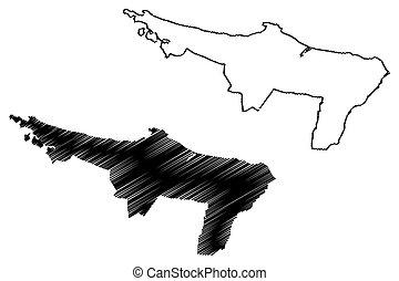 Loiza municipality (Commonwealth of Puerto Rico, Porto Rico, PR, Unincorporated territories of the United States) map vector illustration, scribble sketch Loiza map