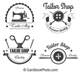 loja, alfaiate, vetorial, ícones, atelier, ou