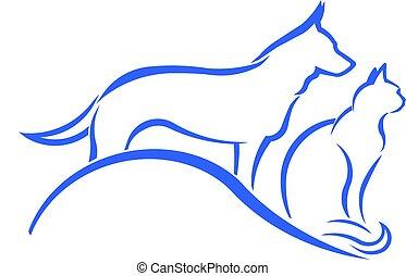 loja, animal estimação, logotipo, cão, gato