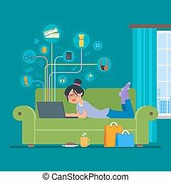 loja, apartamento, estilo, conceito, fazendo compras online, permanecer, ilustração, vetorial, internet, menina, home., design.