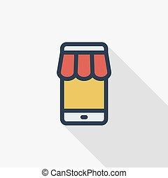 loja, apartamento, mobile., shopping, e-comercializando, negócio, linha, ícone