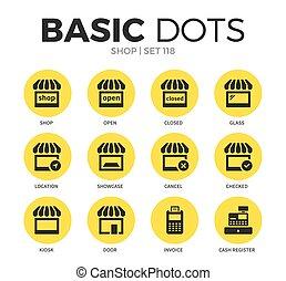 loja, apartamento, vetorial, jogo, ícones