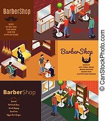 loja, bandeiras, barbeiro, isometric, horizontais